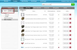 eBay Reiter in der Produktübersicht